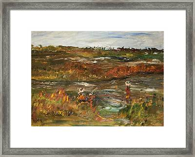 Fishing In The Backwoods Framed Print by Edward Wolverton
