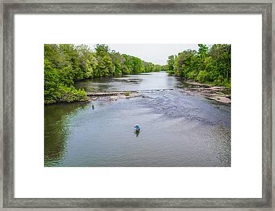 Fishing In The Pekiomen Creek Framed Print by Bill Cannon