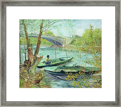 Fishing In The Spring Framed Print by Vincent Van Gogh