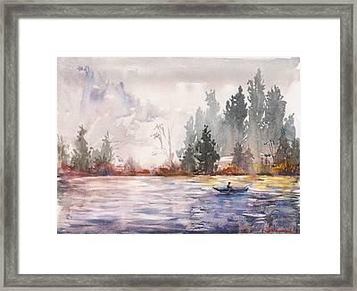 Fishing Framed Print by Kristina Vardazaryan