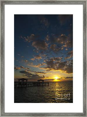 Fishing Pier At Sunrise In Rockport Texas Framed Print by Andre Babiak