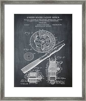 Fishing Reel Patent 1906 Chalk Framed Print by Bill Cannon