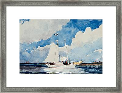 Fishing Schooner In Nassau Framed Print by Winslow Homer
