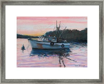 Fishing Trawler At Rest Framed Print by Jack Skinner