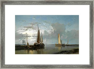 Fishing Vessels In An Estuary Framed Print by Abraham Hulk