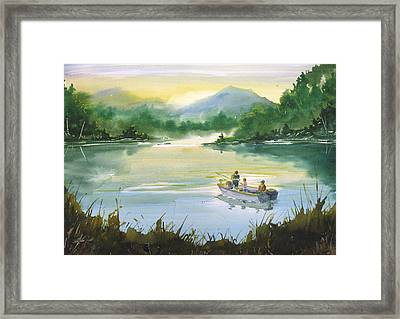 Fishing With Grandpa Framed Print by Sean Seal