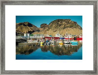 Fishingboats In Vestmannaeyjar Framed Print by Mirra Photography