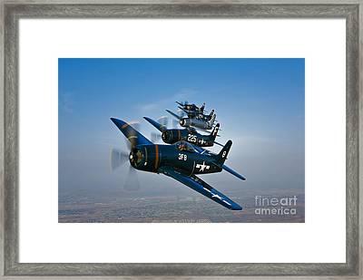 Five Grumman F8f Bearcats In Formation Framed Print by Scott Germain