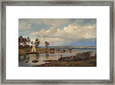 Fjord Landscape With People Framed Print by Hans Gude