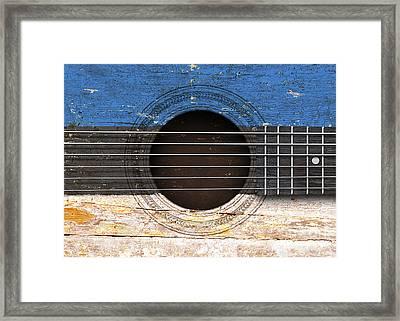 Flag Of Estonia On An Old Vintage Acoustic Guitar Framed Print by Jeff Bartels