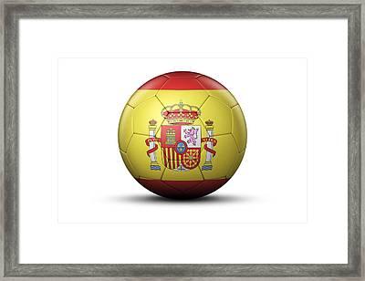 Flag Of Spain On Soccer Ball Framed Print by Bjorn Holland