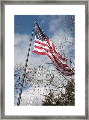 Flag Over Spokane Pavilion Framed Print by Carol Groenen