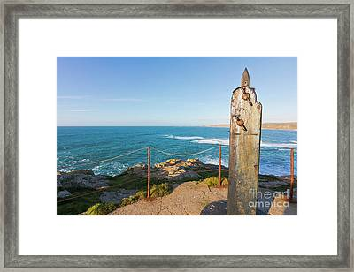 Flag Pole Holder Sennen Cove Framed Print by Terri Waters