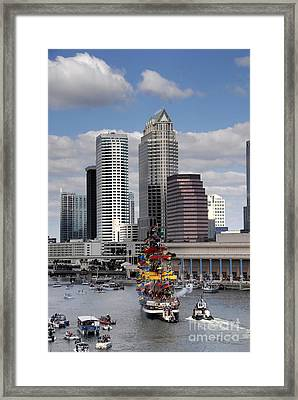 Flags Of Gasparilla Framed Print by David Lee Thompson