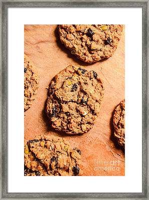 Flame Raisin And Coconut Cookies Framed Print by Jorgo Photography - Wall Art Gallery