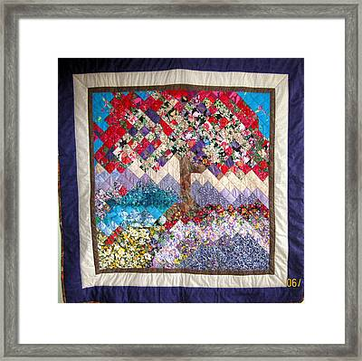 Flame Tree Quilted Wallhanging Framed Print by Sarah Hornsby
