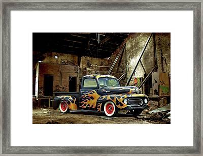 Flamed Pickup Framed Print by Steven Agius