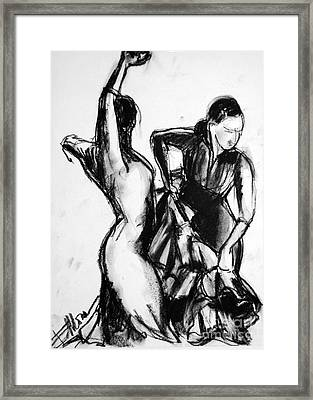 Flamenco Sketch 1 Framed Print by Mona Edulesco