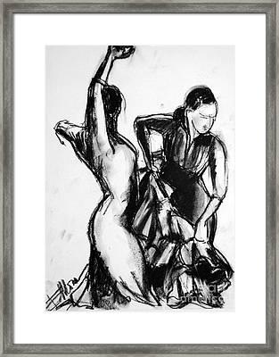 Flamenco Sketch 1 Framed Print by Mona Edulesco