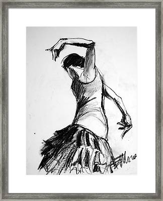 Flamenco Sketch 2 Framed Print by Mona Edulesco
