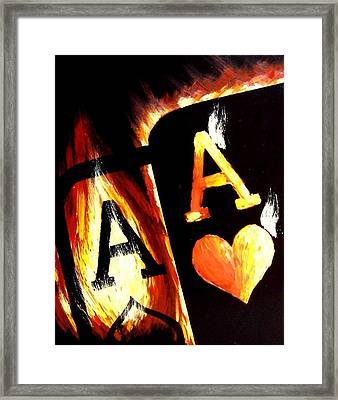 Flaming Bullets Pocket Aces Poker Art Framed Print by Teo Alfonso
