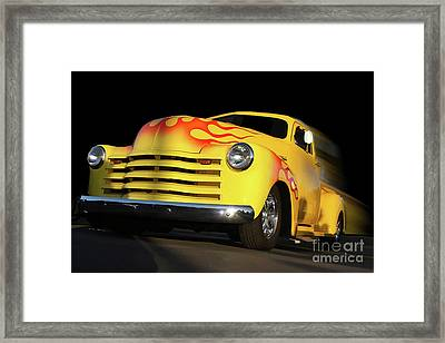 Flaming Chevy Framed Print by Tom Griffithe