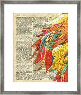 Flaming Colourful Feathers Framed Print by Jacob Kuch