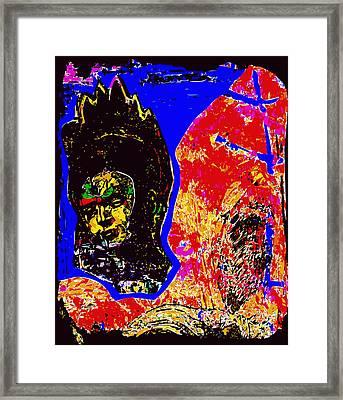 Flaming Frida Kahlo In Landscape Framed Print by F Burton