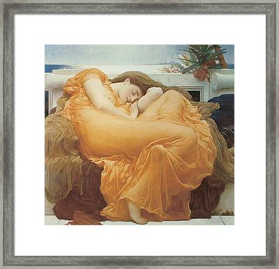 Flaming June By Leighton Framed Print by Lord Frederic Leighton