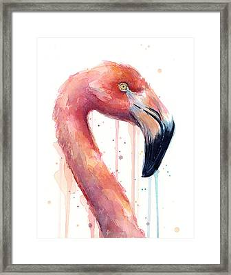 Flamingo Painting Watercolor - Facing Right Framed Print by Olga Shvartsur
