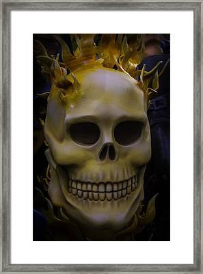Flamming Skull Framed Print by Garry Gay