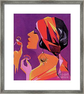 Flapper In A Scarf Applying Makeup, 1923 Framed Print by American School