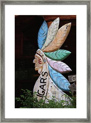 Flat Cigar Store Indian Framed Print by Art Block Collections