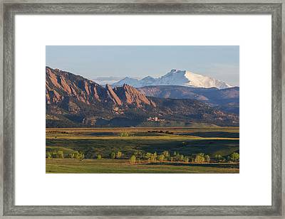 Flatirons And Longs Peak Framed Print by Aaron Spong