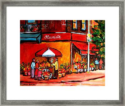 Fleuriste Bernard Florist Montreal Framed Print by Carole Spandau