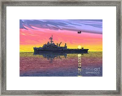 Flight Ops At Sunset Framed Print by Donald Maier