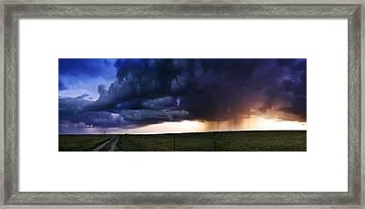 Flint Hills Storm Panorama  Framed Print by Eric Benjamin