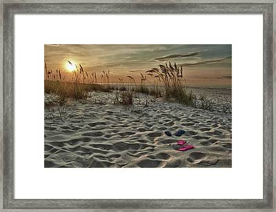 Flipflops On The Beach Framed Print by Michael Thomas