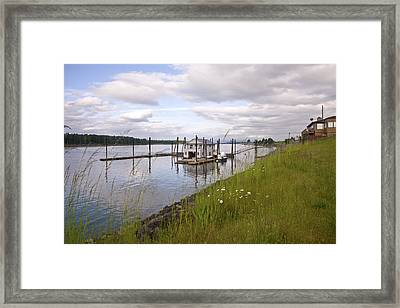 Floating House On The Columbia River Oregon. Framed Print by Gino Rigucci