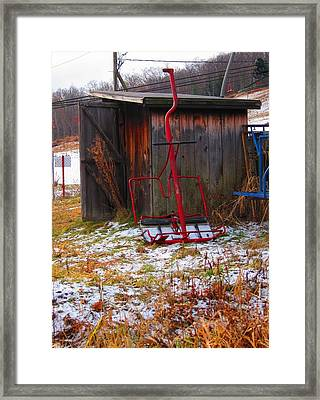 Floating Red Chairlift Framed Print by Sven Migot