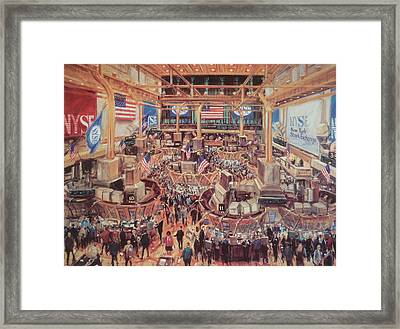 Floor Of The Nyse Framed Print by Kamil Kubik