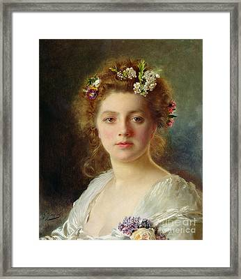 Flora Framed Print by Gustave Jacquet