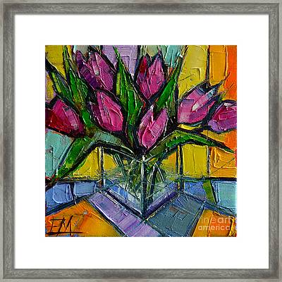 Floral Miniature - Abstract 0615 - Pink Tulips Framed Print by Mona Edulesco