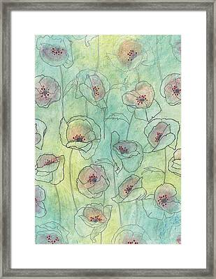 Floral Pattern On A Watercolor Framed Print by Gillham Studios