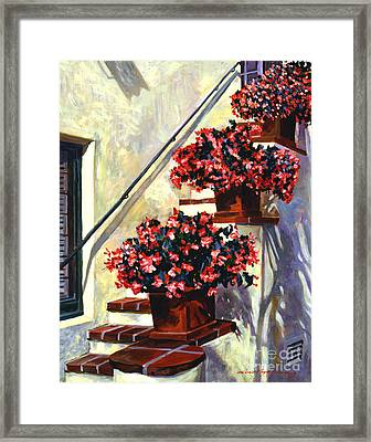 Floral Staircase Framed Print by David Lloyd Glover