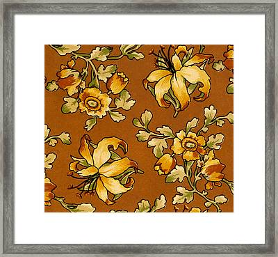 Floral Textile Design Framed Print by English School
