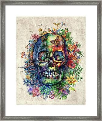 Floral Tropical Skull Framed Print by Bekim Art