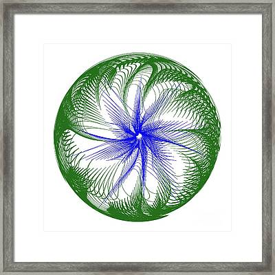 Floral Web - Green Blue By Kaye Menner Framed Print by Kaye Menner