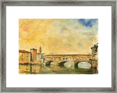 Florence Bridge Ponte Vecchio Framed Print by Juan  Bosco