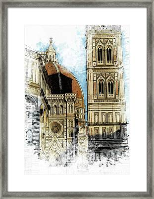 Florence Dome Architecture 2 - By Diana Van Framed Print by Diana Van